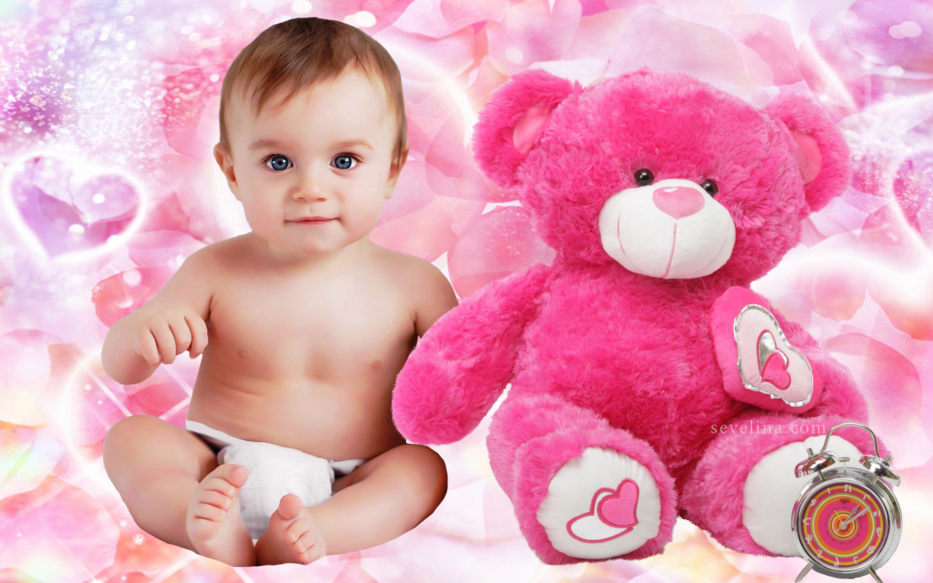Baby And Teddy Love You Valentine Day Wallpapers 2014