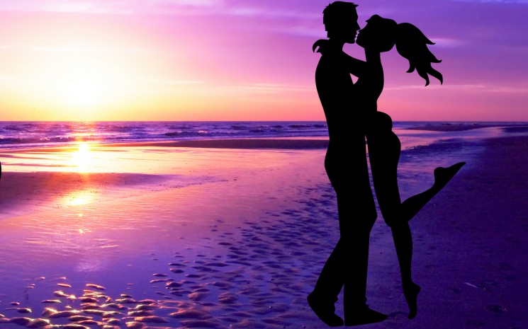 valentine day wallpaper 2014 love-couple-sunset-beach